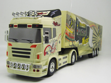Big Remote Control Big Size Kingtoy 1:32 RC 6CH container heavy truck with lights and sounds Car(China (Mainland))