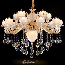 GENESIS LIGHTING G8876 champagne zn alloy froted white glass shade clear crystal hanging european chandeliers lamp lighting(China (Mainland))