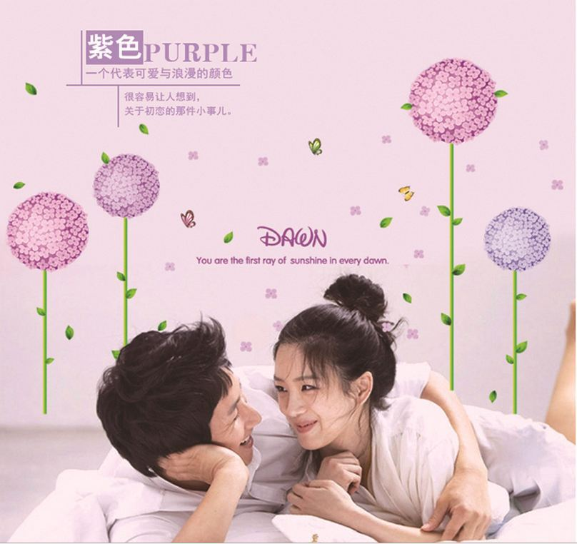 New Arrival ! Removable wall decal art colorful home removal purple ball-flower large wall decals 160*97cm(China (Mainland))