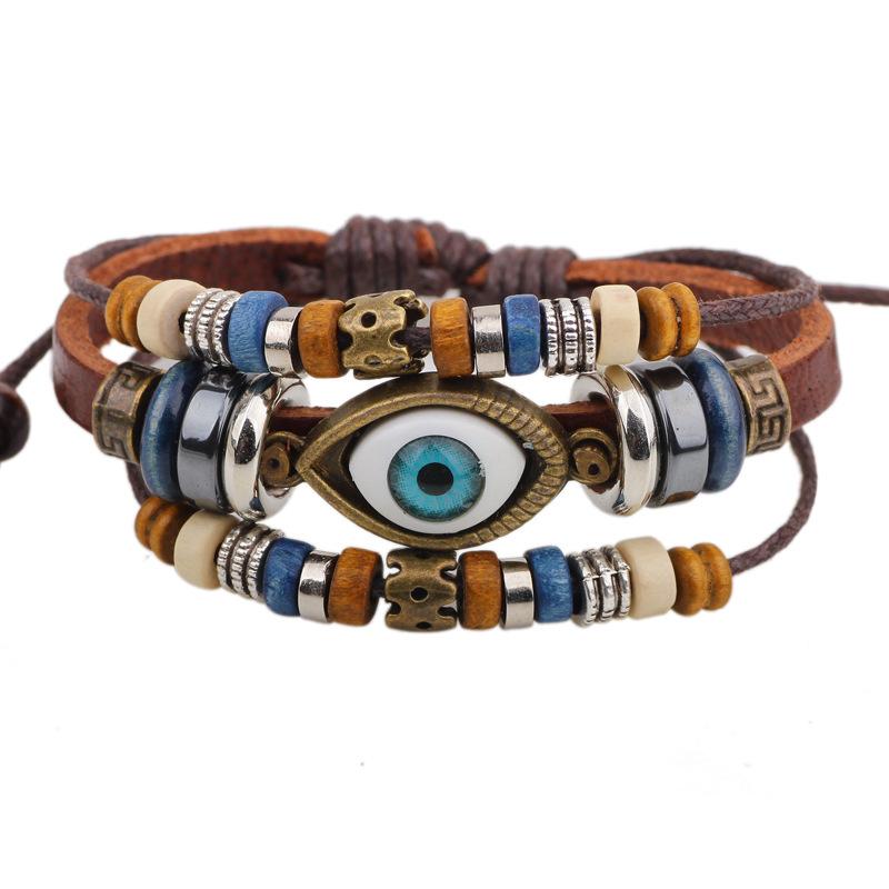 New Evil Eye Bracelet Charm Leather Bracelet Men Wristband Bracelets For Women And Girls Bead Bracelets & Bangles Jewelry BL87(China (Mainland))