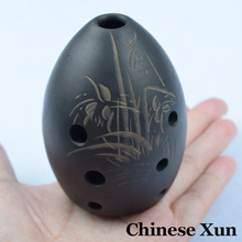 Chinese Ancient Xun Flute Black Pottery Bass Musical Instruments China Ethnic Music Vertical Wind Flauta 8 Hole Ocarina Beginner(China (Mainland))