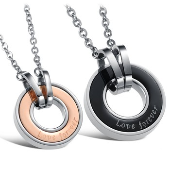 """1 Pair Fashion Women Men Jewelry 316L Stainless Steel Necklaces Round Circle Pendant Necklace Carved Letter """"Forever Love"""""""