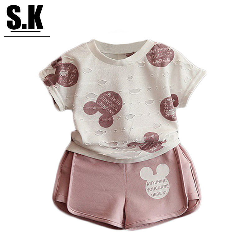 SK,Size 3-7T Girls Clothes Summer 2016 Baby Girls Pink Cute Minnie Lace Clothing Sets Fashion Outfits for Kids Clothes Costume(China (Mainland))