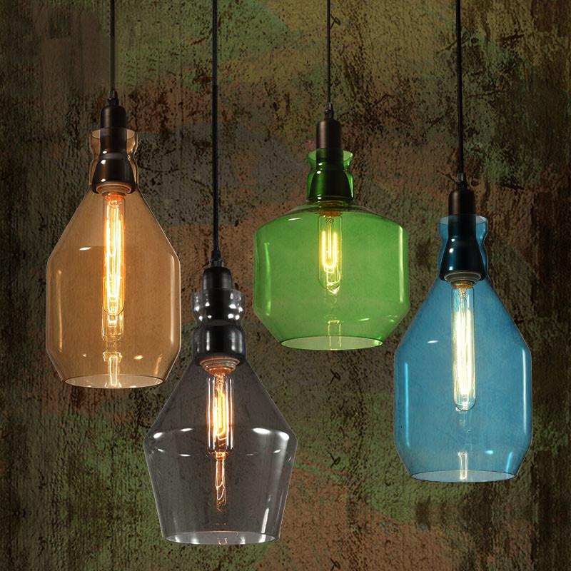 modern colorful glass lustre pendant lights loft cafe shop. Black Bedroom Furniture Sets. Home Design Ideas