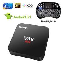 Buy V88 Smart TV Box + i8 Keyboard Backlit Android 5.1 Rockchip RK3229 Quad Core 1G/8G 4K H.265 3D WiFi 1080P XBMC KODI Media Player for $27.99 in AliExpress store
