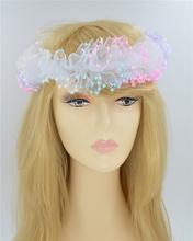 Elastic Headbands Three Flower Girl Hair Accessories Chiffon Head Piece Infant Rose Floral Hair Bands wedding bride Bridesmaid