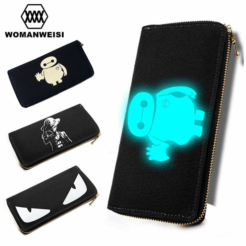 2016 Women Wallets And Purses Luxury Brand Luminous Men Walet Money Clamp Bag Anime Cute Cat Coins Pocket Female Vallet carteras(China (Mainland))