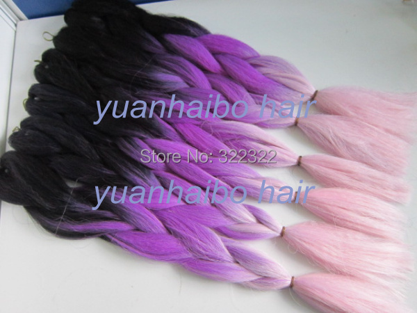 Cheap price 20 folded black/purple/pink three tone 100 kanekalon synthetic ombre braid hair free shipping<br><br>Aliexpress