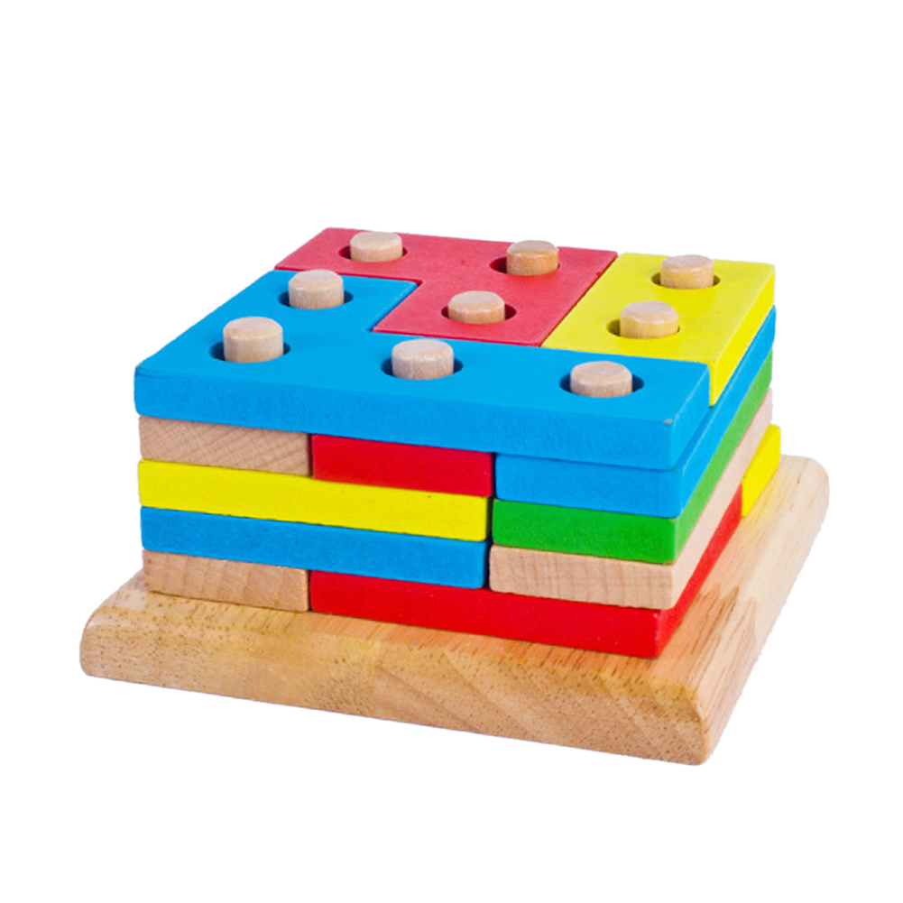 Wooden Puzzle Board Geometric Shapes Pillar Matching Jigsaw Toy Baby Kids Early Educational Jigsaw Puzzle Toy(China (Mainland))