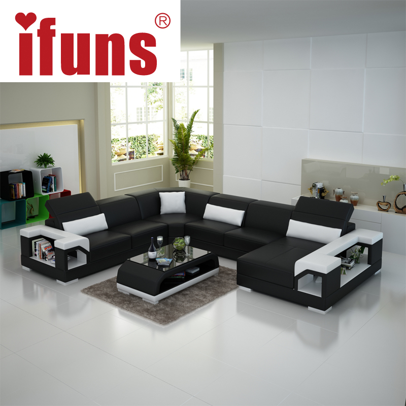 Ifuns Modern Living Room Furniture Special Design Couch High Quality Leather Sofa U Shaped