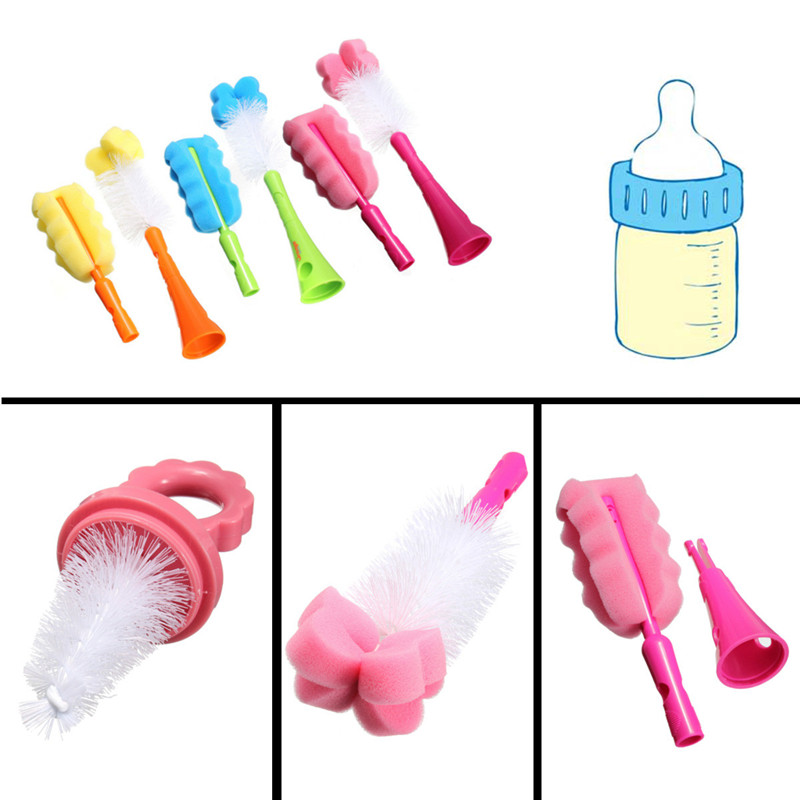 Good Quality 5in1 Baby Nipple Brush Milk Feeding-bottle Cup Sponge Drinking Straw Cleaner Set Orange Green(China (Mainland))
