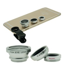 3 in 1 Universal Fish Eye / Wide Angle / Macro Lens Set Cellphone Fisheye Kit for Mobile Phone Android iPhone 5 6 6s Plus