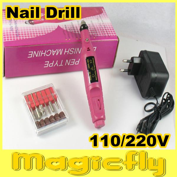 [SDMJ-001]Electric Salon Manicure File Polish Tool For Nail Art 6 Bits Pen Shapefree Shipping(China (Mainland))