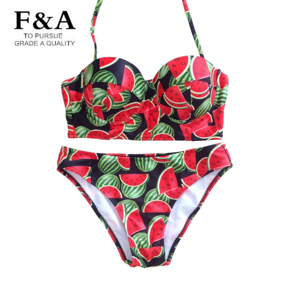 Hot Sales 2 Pcs Womens Bikini Top & Bottom Sexy Bikinis Set Halter Swimwear Watermelon Printing Big Large Size Swimsuit S M L XL(China (Mainland))