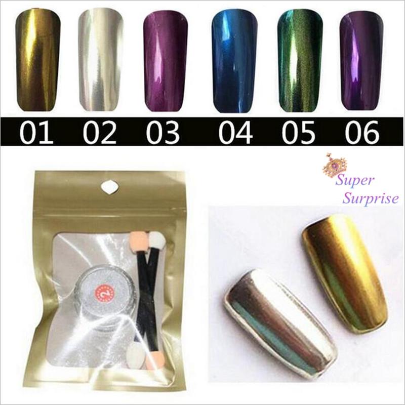 1g/Box New Gold Sliver 6 Colors Mirror Glitter Powder For Nails Shinning Dust Nail Art DIY Chrome Pigment Nail Decoration Tools(China (Mainland))