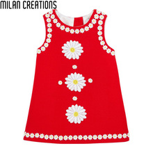 Milan Creations Girls Dress Princess Costume 2016 Brand Children Dress Girl Clothes Flower Pattern Kids Dresses for Girls Baby(China (Mainland))