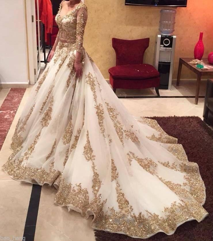 2016 luxury two pieces indian wedding dresses white gold for Long sleeve indian wedding dresses