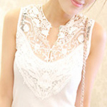 2015 New Summer Korean Women Crochet Lace Hollow Out Blouse Sleeveless V-neck Stitching T-shirt Slim Bottoming Tops 5 Colors(China (Mainland))