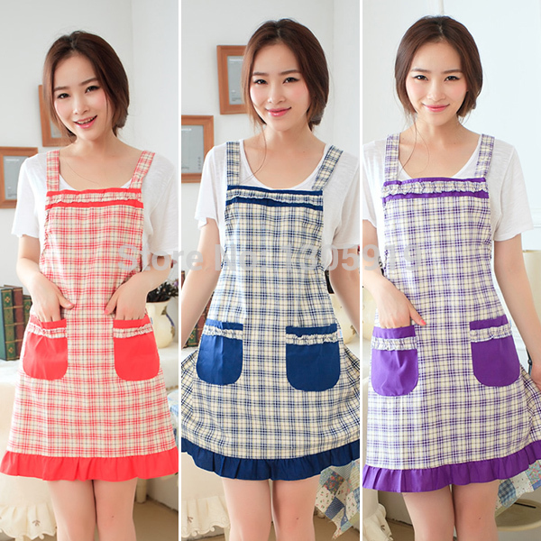 Simple Style Princess Women Apron Straps Apron Overalls Plaid Pattern Apron(China (Mainland))