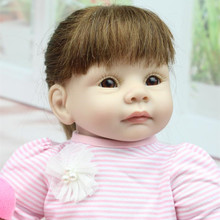 Buy Reborn doll silicone 22'' 55cm Realistic Girl Silicone Vinyl Reborn Baby Doll cute gir Lifelike Handmade Baby Alive Doll