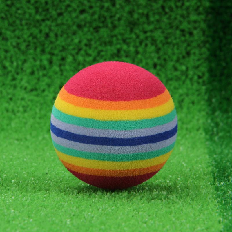 10pcs/lot Super Q Rainbow Toy Ball Soft Sponge Pet EVA Juggling Toys Balls Golf Practice Ball 35mm 42mm Free Shipping(China (Mainland))