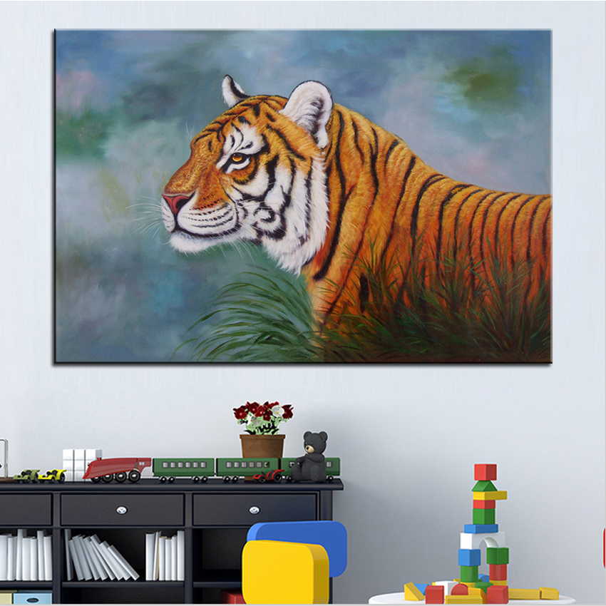 Jungle peinture l 39 huile promotion achetez des jungle for Decoration murale jungle