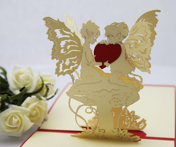 Angel Heart Girlfriend Birthday Gift Ideas Paper Edge Lines Carved Three Dimensional Greeting