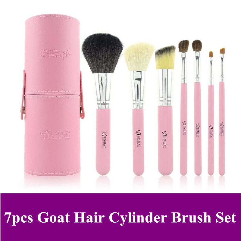 Free Shipping~ High Quality Professional 7 Pcs natural animal Goat Hair Makeup Brushes Set with Pink PU Canister tube Brush Case(China (Mainland))