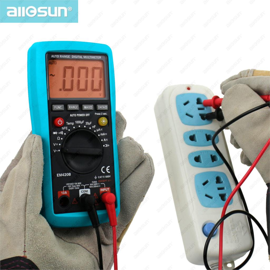 All-Sun EM420B Digital Multimeter Continuity Diode Transistor Battery Tester Measuring Current With AC/DC Multimeter(China (Mainland))