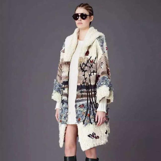 Women Sweater 2015 Autumn Winter New Fashion Brand Embroidery Knitting Sequins Long Wool Vintage Sweaters And CardigansÎäåæäà è àêñåññóàðû<br><br>