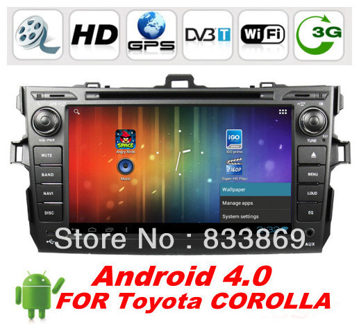 """Android 4.0 HD 8"""" 2din Car DVD Player GPS for Toyota COROLLA 2006-2011 CPU:Cortex A10 1.0GHZ Memory:1GB DDR3 With BT 3D UI PIP(China (Mainland))"""