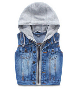 Boys fake two-piece cotton hooded coat children jeans denim jacket Spring Autumn vest baby boy`s outwear(China (Mainland))
