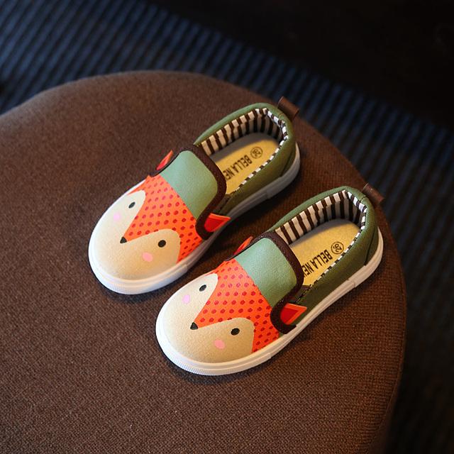 Девушки парусиновые туфли весна Осень Мультфильм фокс распечатать Кроссовки Кроссовки детские детская одежда обувь мягкие и удобные Плоские ботинки школы