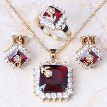 New arrival 18k yellow gold plated  Red Ruby Fashion Earrings Ring Necklace Pendant Jewelry Set T017(China (Mainland))