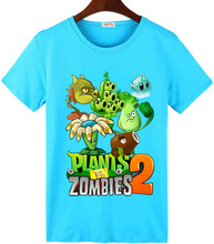 Free shipping 2016 summer Plants vs Zombies T-shirt Children's clothes boy cartoon Transformers short-sleeve T-shirt(China (Mainland))