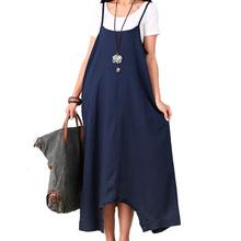 Summer Dress Women Loose Waist Plus Size Women Casual Dress Spaghetti Strap Cotton Linen Maxi Dress Solid Color Novelty Dress(China (Mainland))