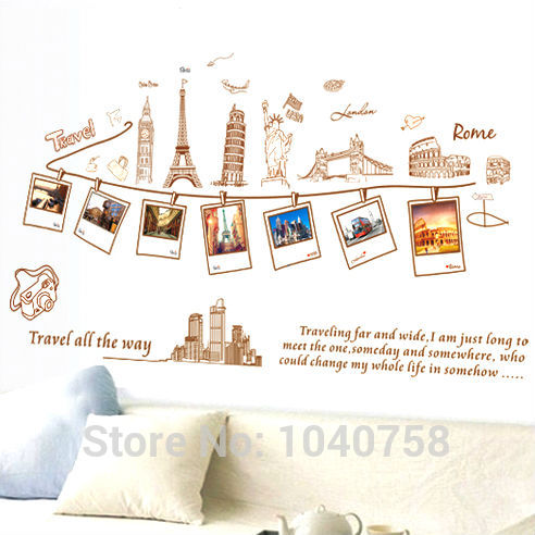 PVC Removable Large Wallpaper World Map Wall Sticker Poster Home Decoration Travel Photo Frame Wall Decals Wall Paper Art(China (Mainland))