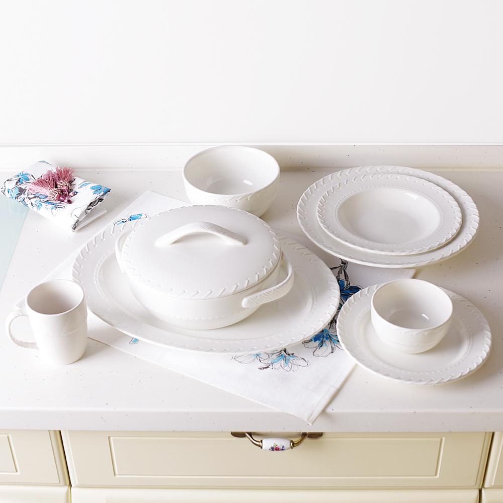 Achetez En Gros Porcelaine Blanc Ensembles De Vaisselle En