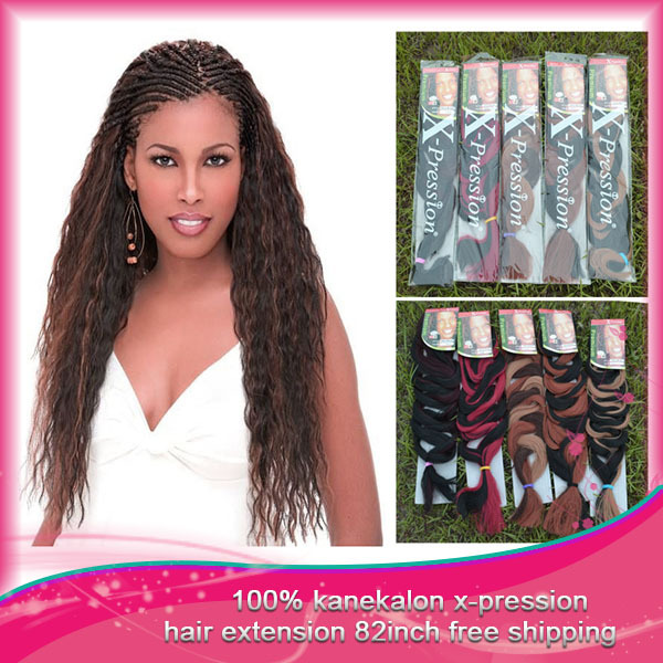 1PC Synthetic Braiding Hair Extension X-pression Ultra Braid Hair Extensions Afro Kinky Curl Bulk Hair Kanekalon Free Shipping(China (Mainland))