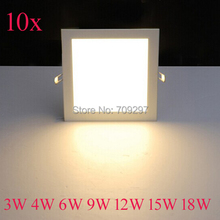 FREE DHL/FEDEX,10pcs/lot,3W 4W 6W 9W 12W 15W 18W 2835 square LED panel light, white/warm white/nature white  Ceilling light B-81(China (Mainland))