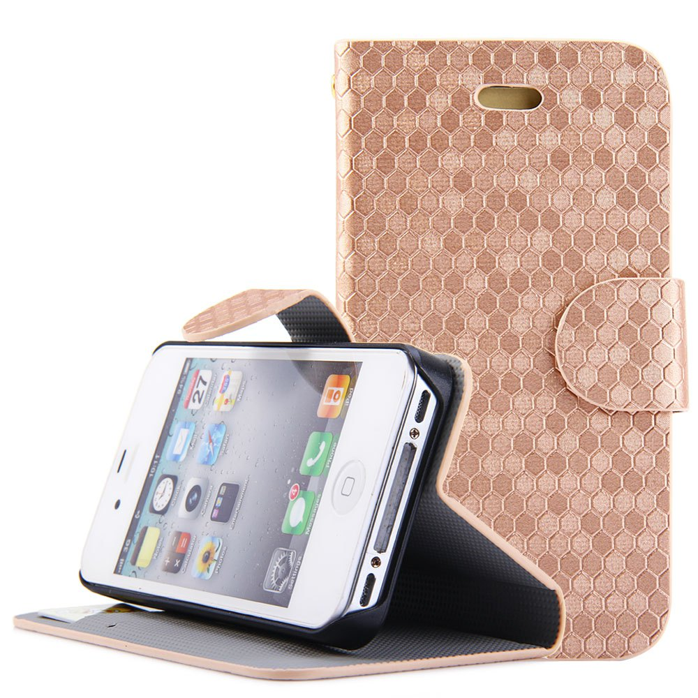 Elegant Case Cover Attractive Solid Color Grid Design PU Leather Full Body Case With Credit Card Holder Stand for iPhone 4 4S(China (Mainland))