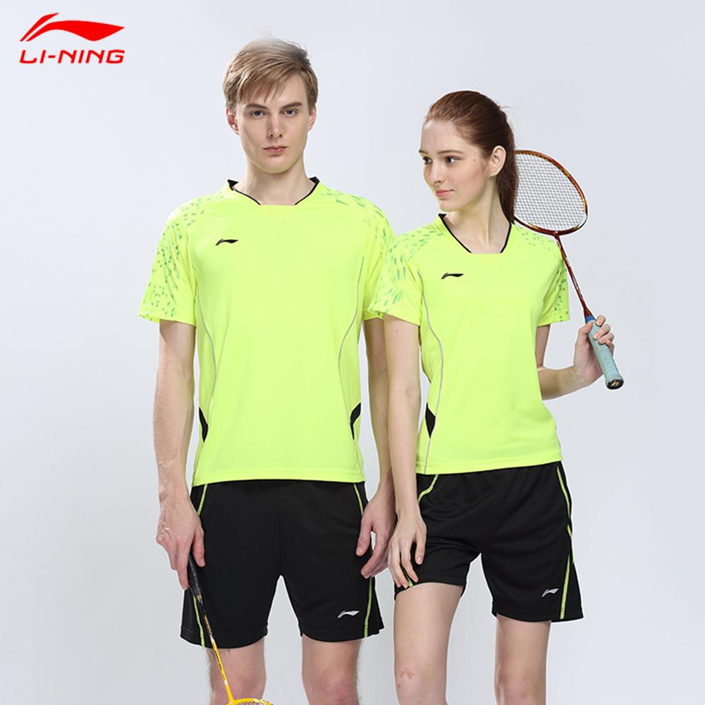 2016 New LI-NING Badminton Sport Set ( Tshirt + Shorts) New Team Badminton Shirts + Shorts Breathable sportswear suit(China (Mainland))