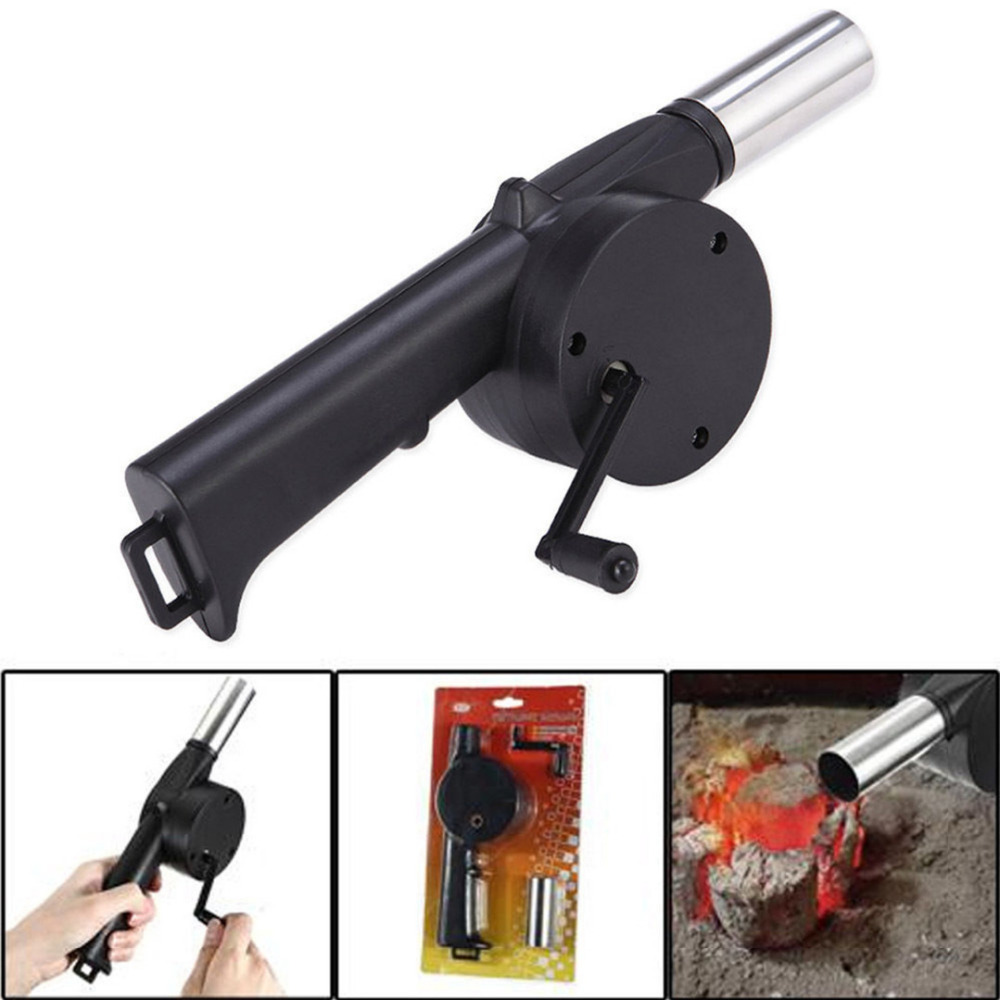 New BBQ Grill Air Blower Smoker Fan Top Barbecue Grill Fans Outdoor Fire Bellow Hand Crank Powered Tool(China (Mainland))