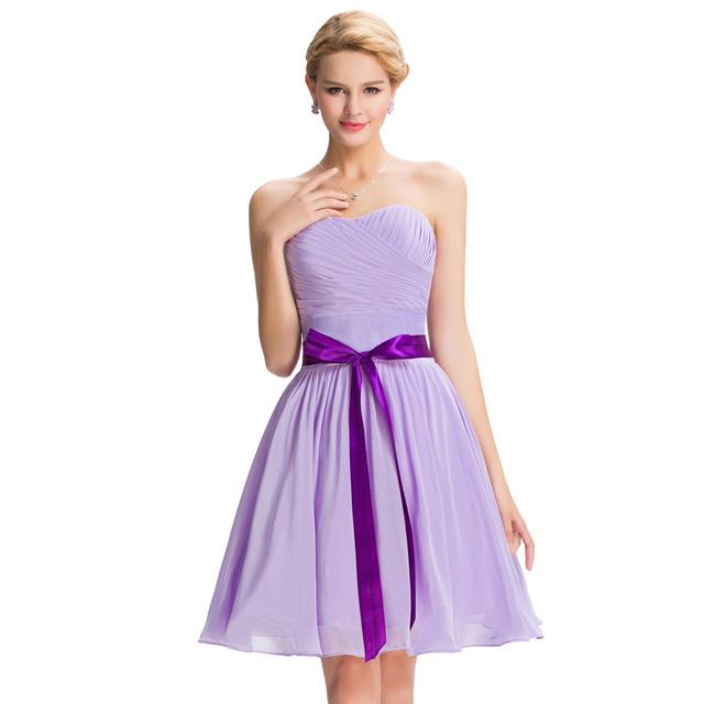 Элегантный бретелек колен шифон сирень платье невесты дешевой цене короткие невесты ...