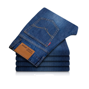 Men's Jeans Full Length Trousers Men Autumn Winter Thick Straight Slim Blue Mid Wasit Casual Fashion Male Solid Pants Hot Top