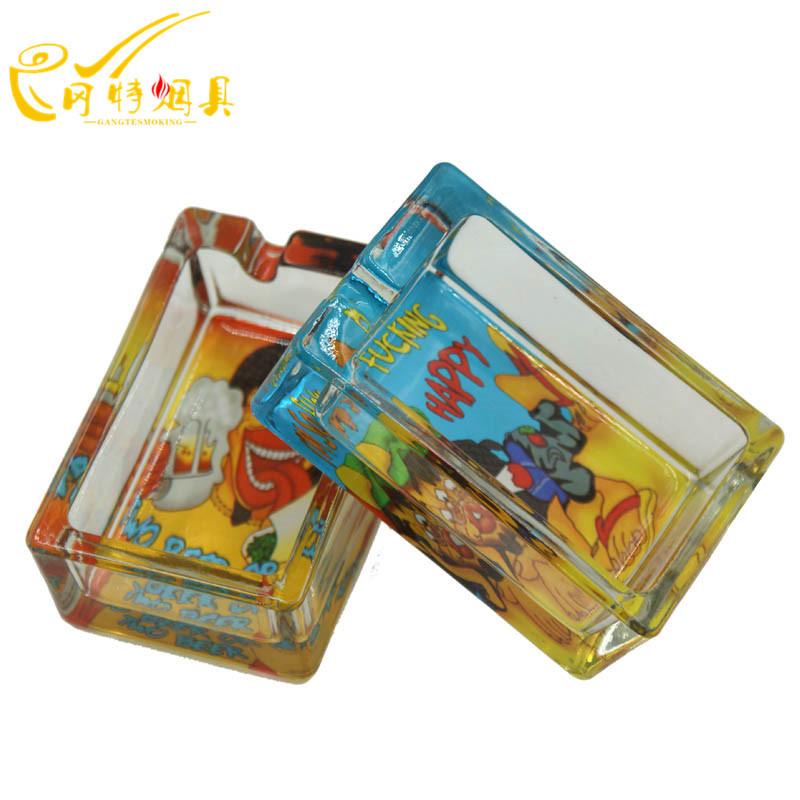 Cartoon Image High Quality Glass Crystal Cigar Ashtray Home Car Ashtrays GT-1116(China (Mainland))