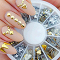 200 pcs set Free shipping 6 styles silver 3D shiny metallic luster Nail decoration wheel round
