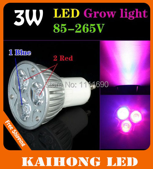 3W 2Red 1Blue LED Grow Light gu10 for Flowering Plant and hydroponics system Free Shipping(China (Mainland))