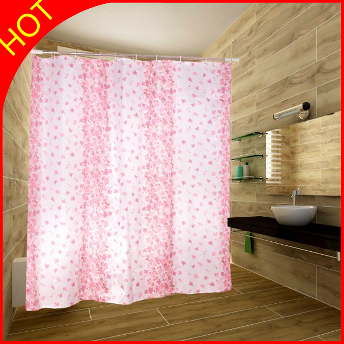 Red Flower Bath Curtains Polyester Fabric Shower Curtains Cortina De Banherio Waterproof