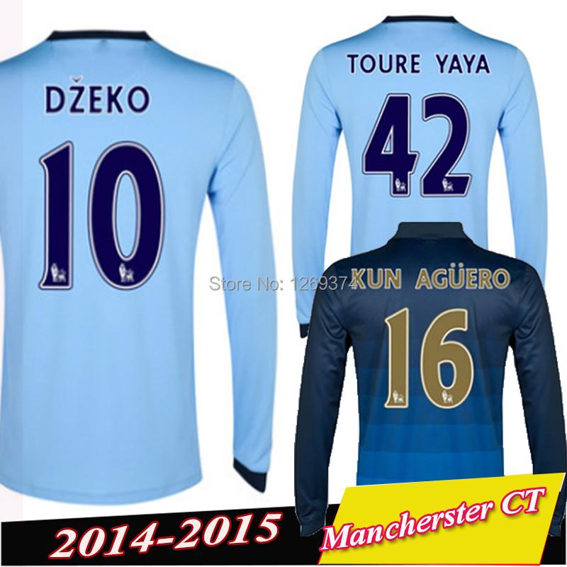 Soccer Jerseys Manchester long sleeve Home Away 14 15 SILVA KUN AGUERO TOURE YAYA Jersey City 2015 soccer jerseys Full Shirts(China (Mainland))